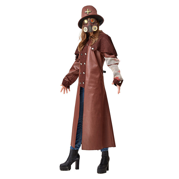 Adult Unisex Plague Doctor Costumes Black Death Doctor Costume Gothic Tailcoat Victorian Steampunk Coat Jacket - OLAOLA