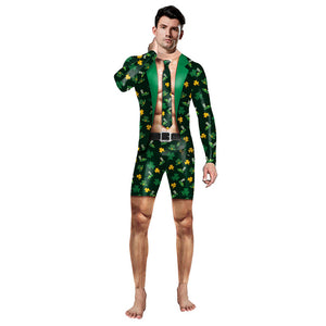 Adult Men St. Patrick's Day Shamrocks Costume Halloween Cosplay Fancy Dress Spandex Jumpsuit