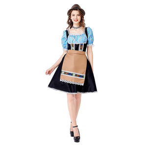 Women Oktoberfest Carnival Dirndl Costume Tavern Wench Waitress Maid Bar Outfit Cosplay Halloween Fancy Party Dress - OLAOLA