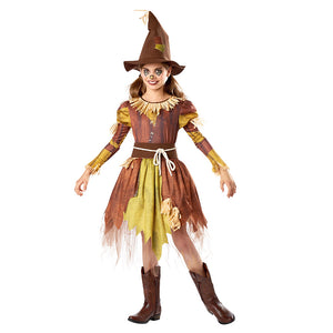 Kids Girls Horror Scarecrow Dress Cosplay Costumes Fringed Dress Hat Suit Halloween Carnival Costumes - OLAOLA