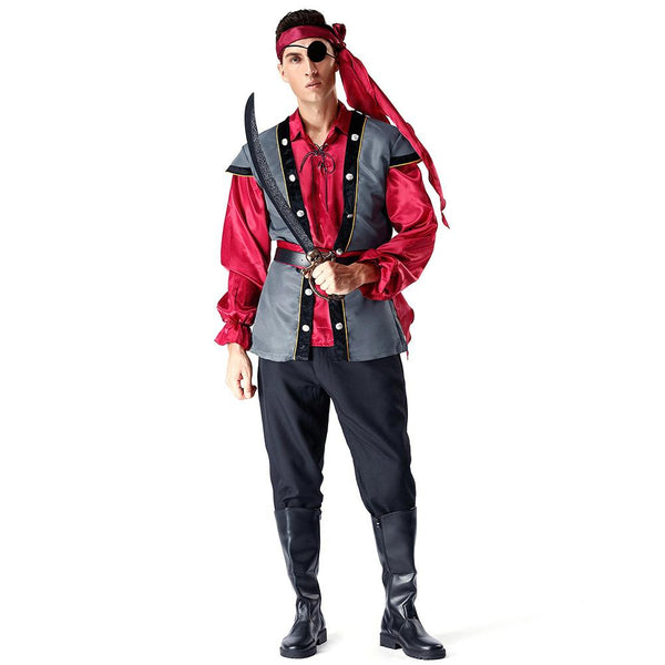 Men Halloween Classic Pirate Costume Carnival Party Cosplay Fancy Dress - OLAOLA