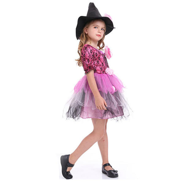 Kids Halloween Witch Costume Girls Cosplay Carnival Party Mardi Gras Costumes Fancy Dress - OLAOLA