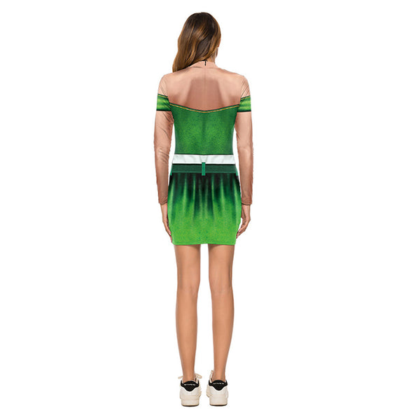 Turtleneck Women's St. Patrick's Day Print Sexy Bodycon Tight Long Sleeve Mini T Shirts Dresses