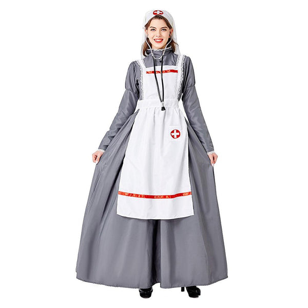 Women Halloween Medieval Doctor Nurse Dress Cosplay Costume Clothes Masquerade Funny Dress - OLAOLA