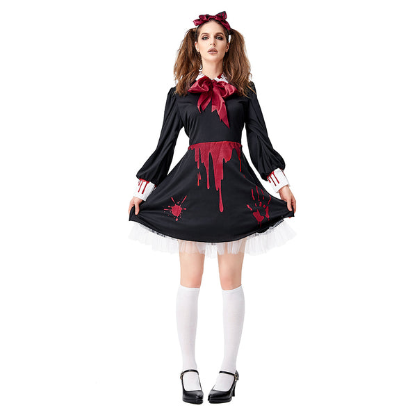 Women Horror Doll Costume Gothic Bloody Zombie Scary Costume Halloween Masquerade Party Cosplay Costume - OLAOLA