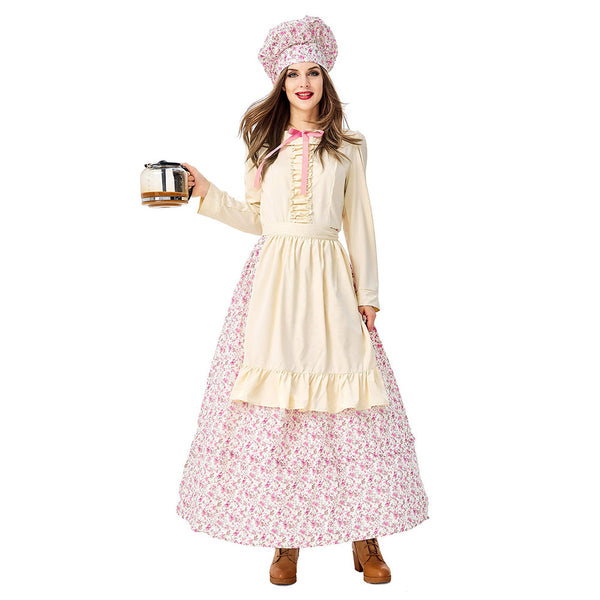 Adult Women Prairie Pioneer Costume Colonial Dress Floral Halloween Purim Carnival Party Cook Maid Costumes - OLAOLA