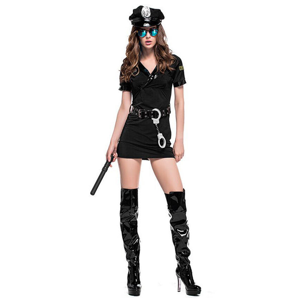 Women Halloween Sexy Black Policewoman Costume Game Uniforms Role-playing Outfits Cosplay Fancy Clothes - OLAOLA