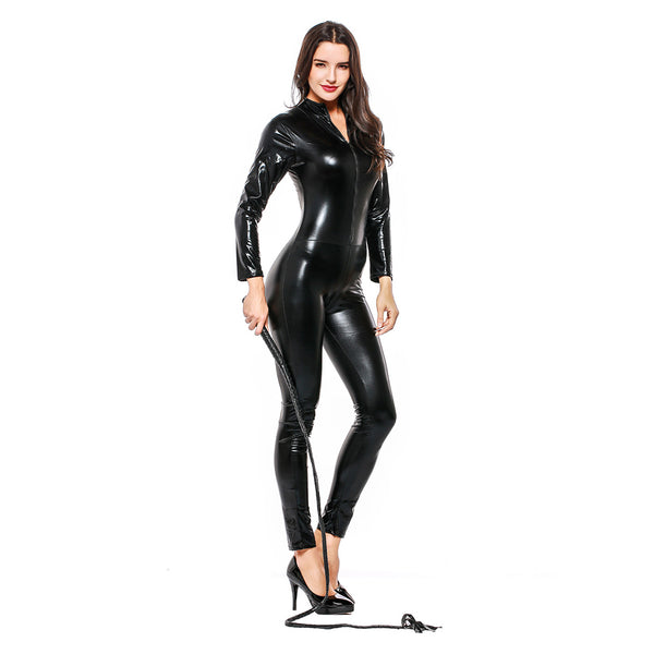 Adult Women Halloween Leather Jumpsuit Nighty Hot Sexy Catwoman Catsuit Black Cat Costume - OLAOLA