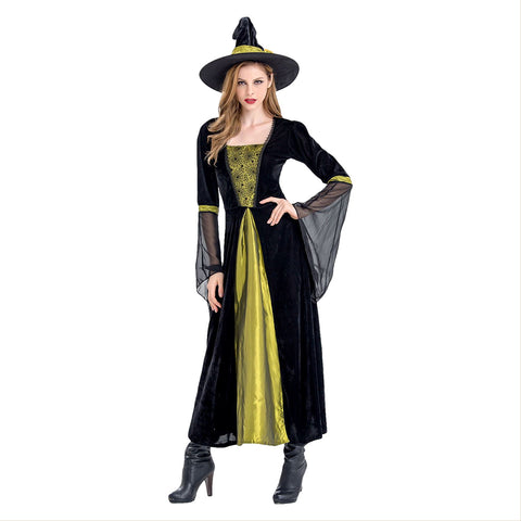 Women Halloween Witch Costume Maxi Dresses Role-playing Outfits Cosplay Fancy Dress - OLAOLA