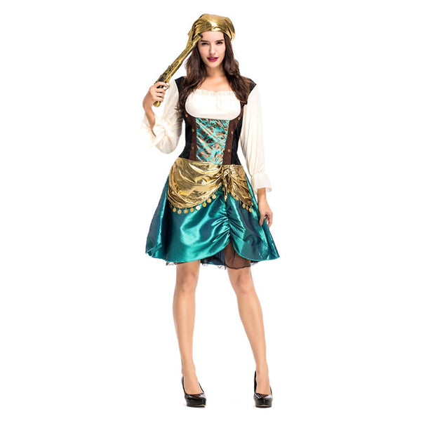 Women Halloween Sexy Caribbean Captain Pirate Costumes Adult Female Warrior Fancy Dress Cosplay Carnival Costume - OLAOLA