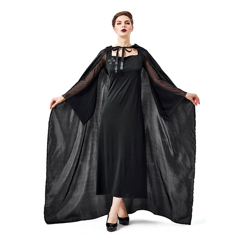 Women Halloween Night Wandering Ghost Witch Cosplay Costume Hooded Cape Robe Party Carnival Fancy Dress - OLAOLA