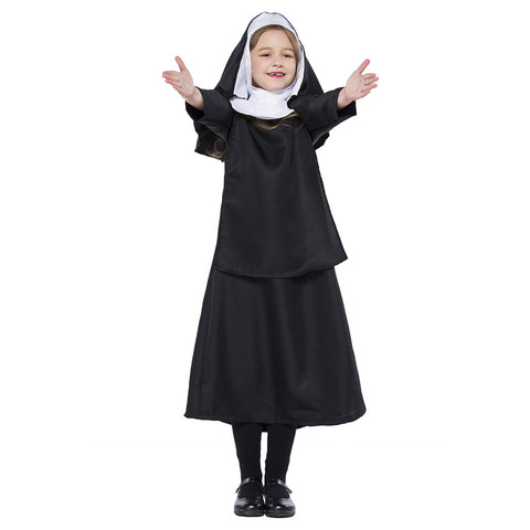 Kids Girls Black Nun Costume Halloween Cosplay Costumes The Conjuring Children Halloween Costumes Outfit - OLAOLA