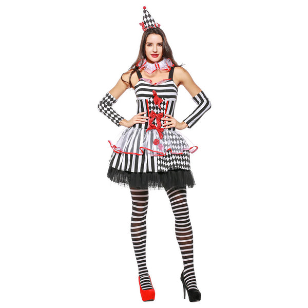 Women Halloween Sexy Black White Circus Clown Costume Girls Naughty Fancy Dress Stripe Uniform - OLAOLA