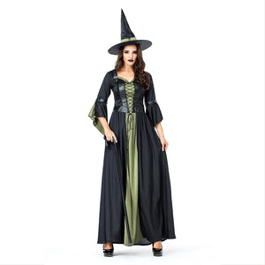 Women Halloween Party Witch Role-playing Female Evil Witch Stage Cosplay Costumes Long Fancy Dress - OLAOLA