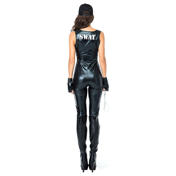 Women Halloween Cosplay Cop Jumpsuit Costume Sexy Faux Leather Bodysuit Policewoman Costume Fancy Dress - OLAOLA