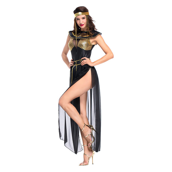 Women Halloween Carnival Party Egyptian Cleopatra Costume Adult Egypt Queen Cosplay Costumes Sexy Golden Fancy Dress - OLAOLA