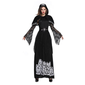 Women Halloween Costume Gothic Black Hood Dresses Vampire Witch Cosplay Costume Carnival Fancy Dress - OLAOLA