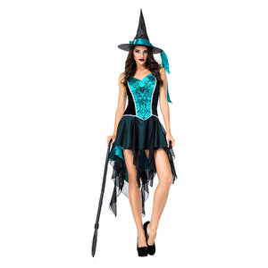 Women Halloween Blue Black Witch Costume Sexy Party Swallowtail Dress Mesh Embroidered Strap Carnival Uniform - OLAOLA