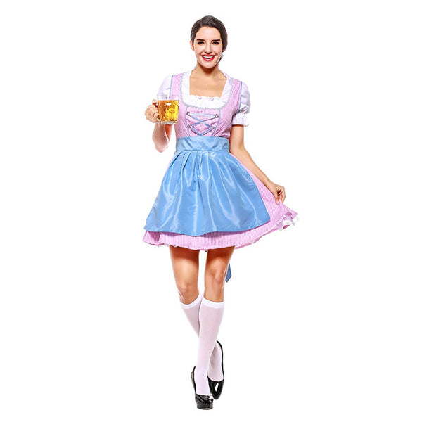Women Oktoberfest Beer Dirndl Maid Skirt Dress Apron Blouse Gown German Wench Costume Beer Fancy Dress - OLAOLA