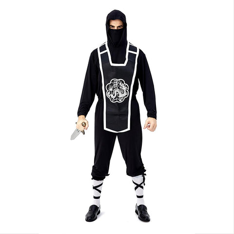 Men Ninja Costume Traditional Japanese Warrior Costume Halloween Cosplay Party Outfit Role Play Game Suit - OLAOLA