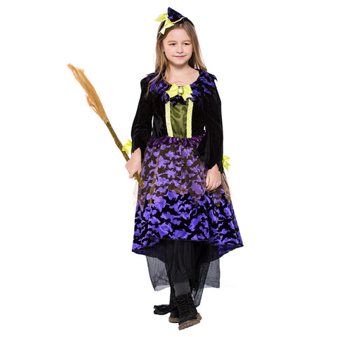Kids Girls Halloween Bat Witch Costumes Magician Sorceress Cosplay Carnival Purim Stage Show Party Dress - OLAOLA