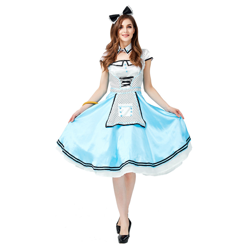 Women Alice in Wonderland Costume Adult Alice Cosplay Costume Blue Fancy Dress Fantasy Halloween Costumes - OLAOLA