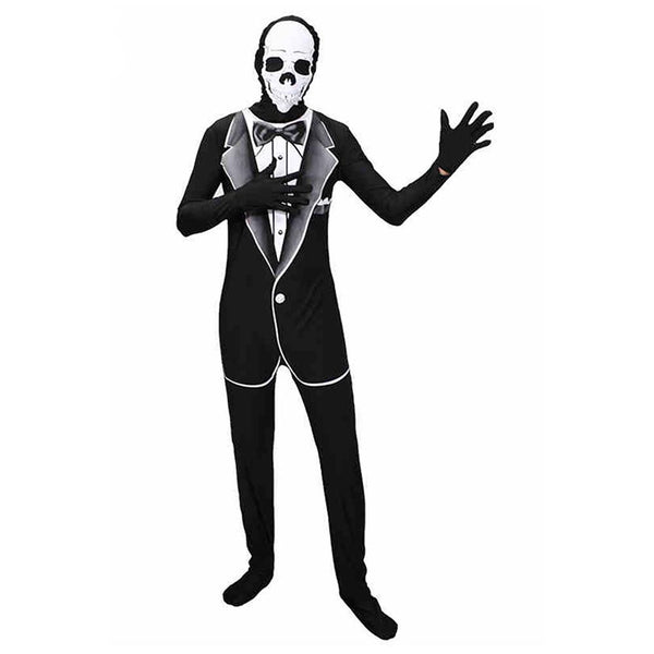 Men Halloween Skeleton Cosplay Suit Masquerade Carnival Skulls Gentleman Businessman Role Playing Costume - OLAOLA