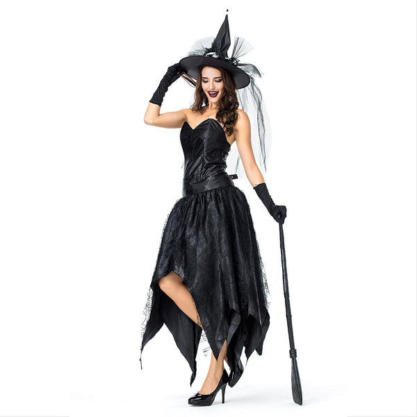 Women Gothic Sorceress Cosplay Female Halloween Black Witch Costume Carnival Masquerade Nightclub Party Dress - OLAOLA