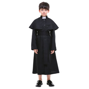 Kids Boys Purim Priest Father Monk Halloween Costume European Religion Jesus Christ Cosplay Carnival Party Outfit - OLAOLA