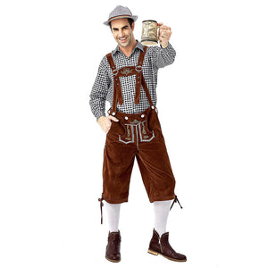 Men Oktoberfest Costume Plaid Shirt Lederhosen Outfit Halloween Cosplay Parade Stage Show Fancy Party Dress - OLAOLA