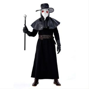 Men Halloween Plague Doctor Cosplay Costume Steampunk Medieval Hooded Robe Dr. Plague Costume Adult Fancy Dress - OLAOLA