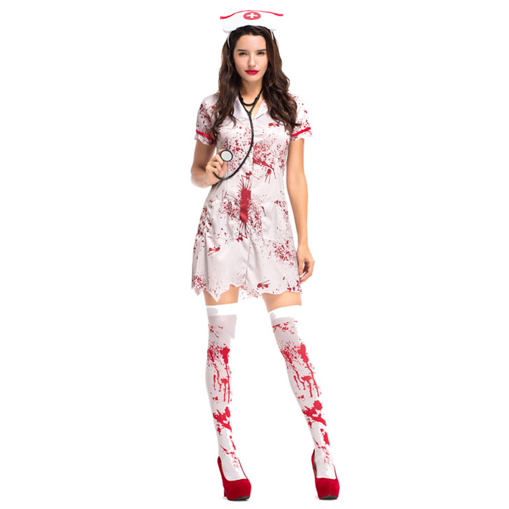Women Halloween Horror Nurse Zombie Costume Scary Bloody White Dress Uniform Fancy Clothing Outfit - OLAOLA
