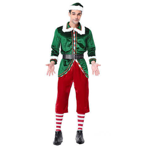 Men Classic Red Green Merry Christmas Uniforms Festive Elf Couples Costume Santa's Helper Costumes Clothes - OLAOLA