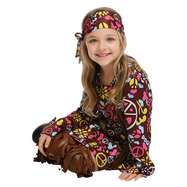 Kids Halloween Purim Children Savage Native American Costume 60s 70s Retro Hippie National Singer Cosplay Outfits - OLAOLA