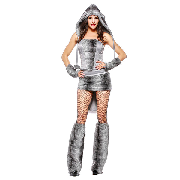 Women Halloween Grey Wolf Costume Top Skirt Set with Tail Ear Adult Animal Cosplay Costumes - OLAOLA