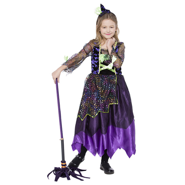 Kids Girls Star Moon Witch Costume Halloween Dotty Sparkly Accents Moon and Star Colorful Midnight Witch Costume - OLAOLA