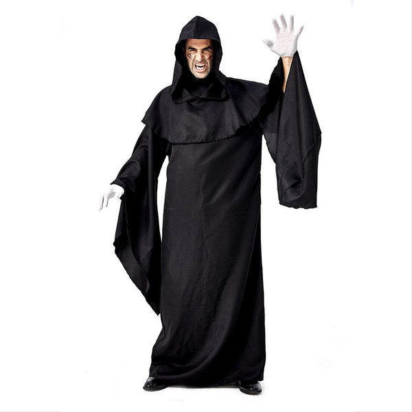 Men Grim Reaper Hooded Robe Cloak Fancy Dress Halloween Masquerade Cosplay Costume Cape - OLAOLA