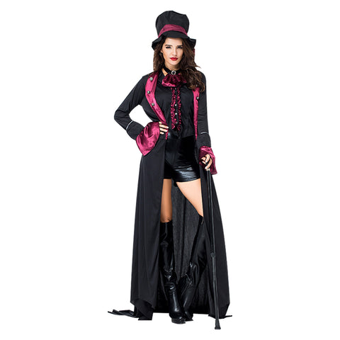 Women Halloween Deluxe Victorian Vampire Costume Gothic Black Party Female Blood Countess Disguise Costumes - OLAOLA