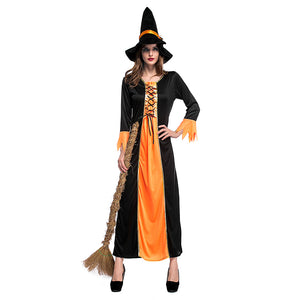 Adult Women Deluxe Glamorous Gothic Cauldron Witch Halloween Fancy Dress Costume - OLAOLA