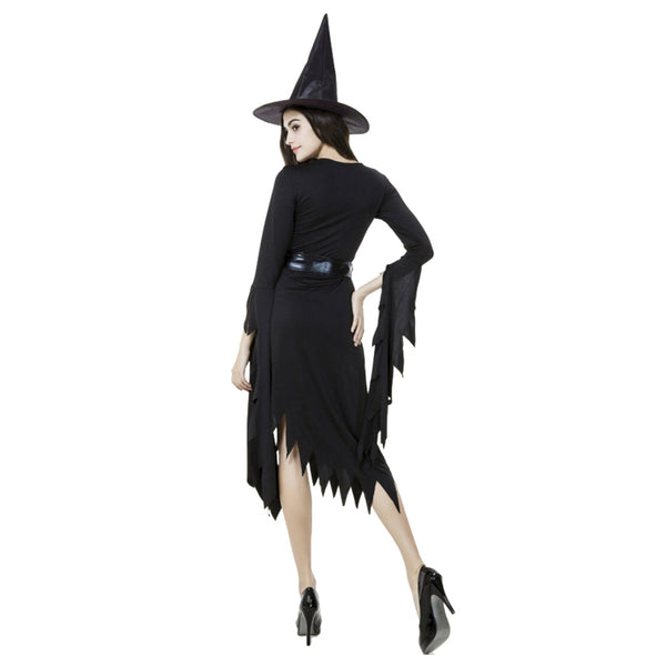 Women Halloween Scary Witch Cosplay Costume Black Irregular Witch Dress Costume - OLAOLA