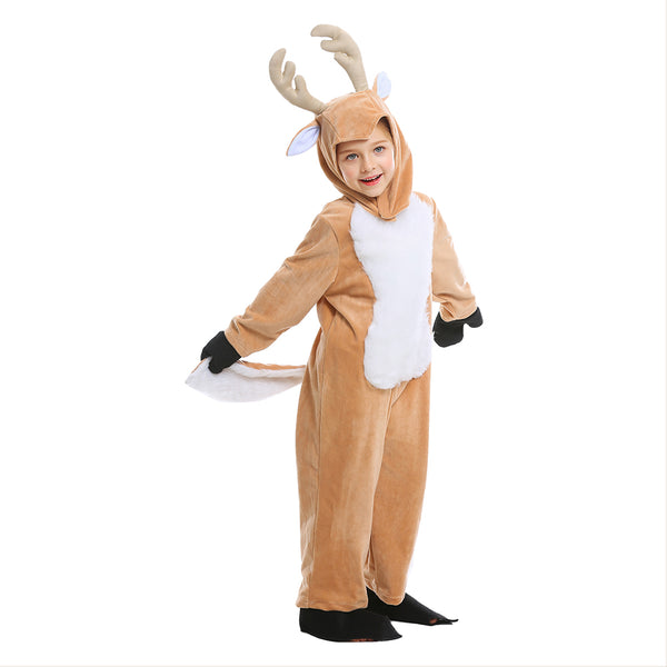 Kids Children Pajamas Plush Reindeer Elk Deer Costume Christmas Holiday One Piece Animal Cosplay Onesie - OLAOLA