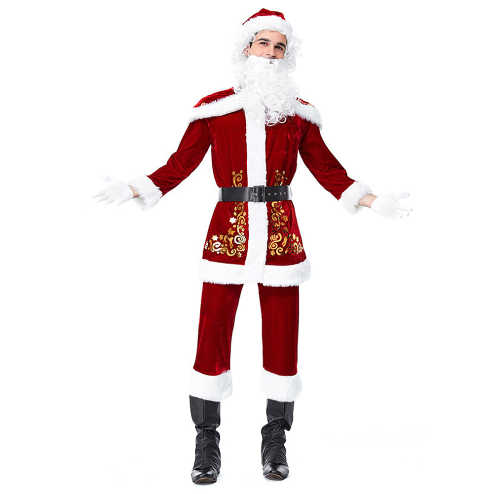 Men Santa Claus Costume Adult Christmas Clothes Full Set Cosplay Deluxe Santa Red Outfit Suit - OLAOLA
