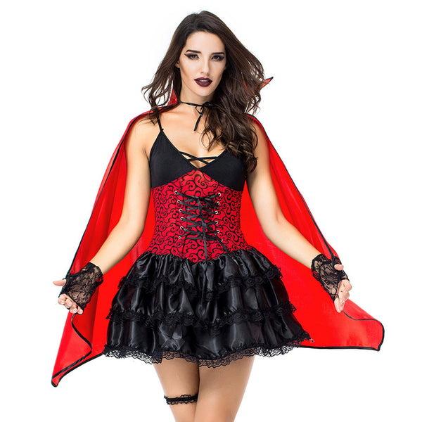 Women Halloween Vampire Queen Dress Cosplay Costume Scary Bloody Dress Uniform Fancy Clothing Outfit - OLAOLA