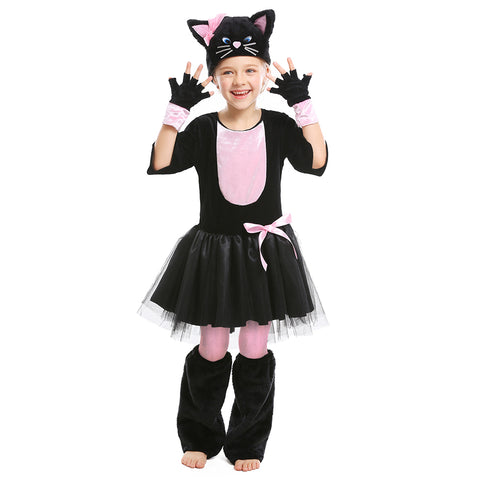 Kids Girls Miss Kitty Costume Black Cat Dress Suit Halloween Carnival Party Mardi Gras Cosplay Outfit - OLAOLA
