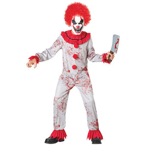 Kids Fantasia Purim Halloween Costumes Scary Creepy Bloody Killer Circus Clown Jester Cosplay Costume - OLAOLA