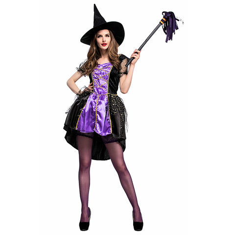 Women Halloween Purple Witch Costume Woman Dresses with Hat Carnival Cosplay Costumes Sorceress Clothes - OLAOLA