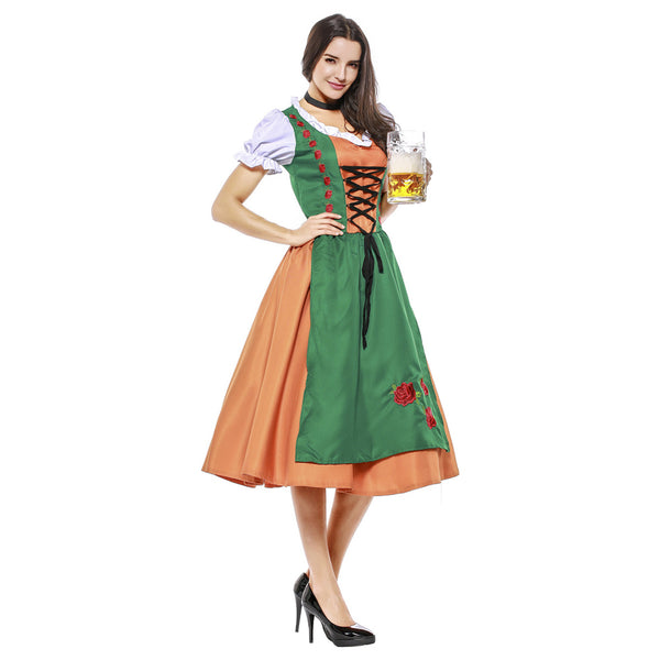 Women Halloween Dirndl Dress Adult German Oktoberfest Bavarian Beer Wench Costume Maid Outfit - OLAOLA