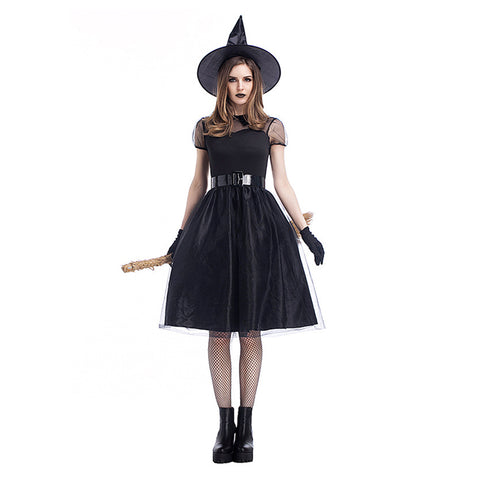 Women Black Witch Costume Deluxe Adult Magic Moment Costume Adult Witch Halloween Fancy Dress - OLAOLA