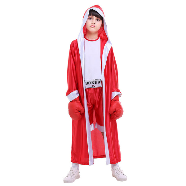 Kids Boys Boxing Costume Robe Cloak Boxer Role Playing Suit Halloween Carnival Cosplay Costume - OLAOLA