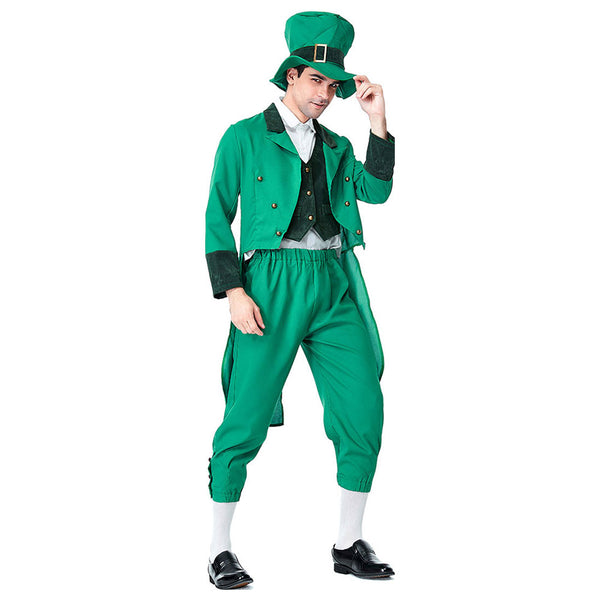 Men Lucky Charms Leprechaun Irish Party Dress St Patrick's Day Fancy Dress Costume Outfit Performance Cosplay Clothing - OLAOLA